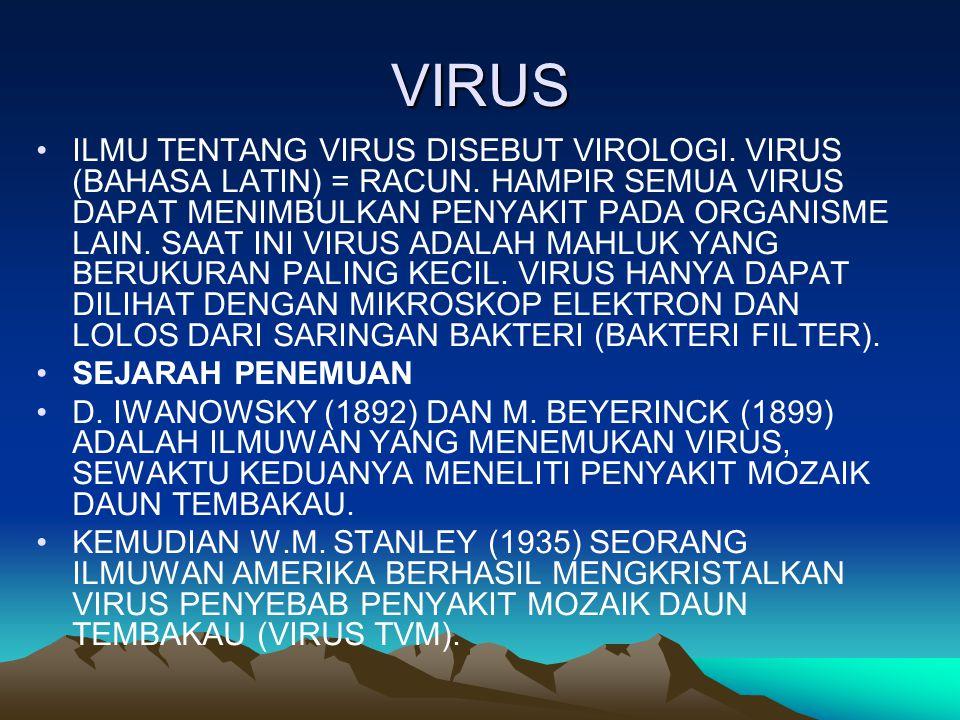 VIRUS ILMU TENTANG VIRUS DISEBUT VIROLOGI. VIRUS (BAHASA LATIN) = RACUN. HAMPIR SEMUA VIRUS DAPAT MENIMBULKAN PENYAKIT PADA ORGANISME LAIN. SAAT INI V