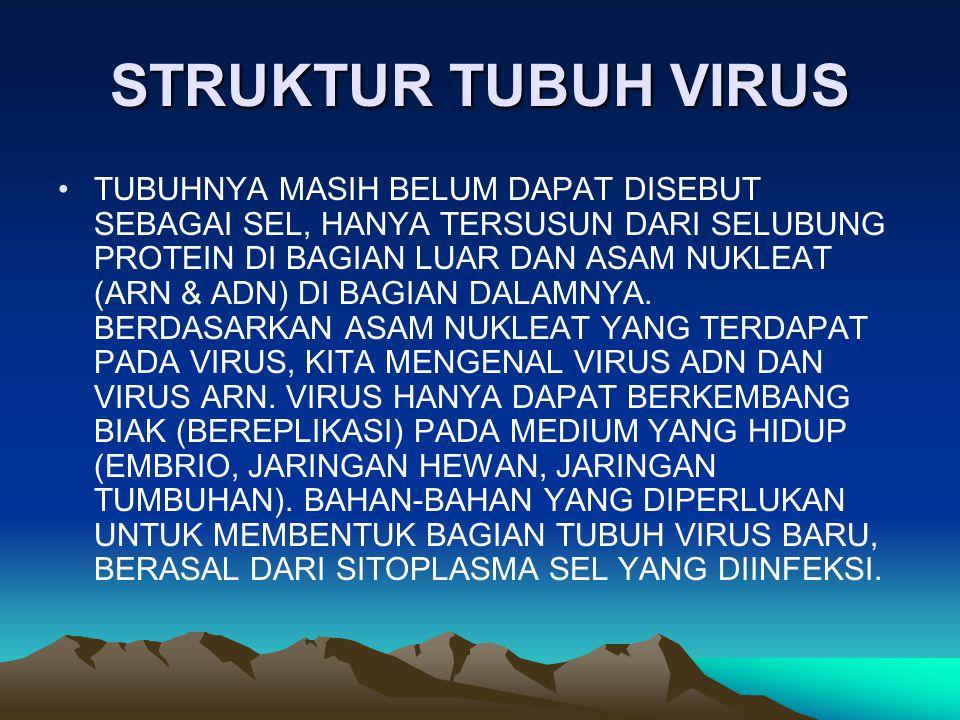 STRUKTUR TUBUH VIRUS TUBUHNYA MASIH BELUM DAPAT DISEBUT SEBAGAI SEL, HANYA TERSUSUN DARI SELUBUNG PROTEIN DI BAGIAN LUAR DAN ASAM NUKLEAT (ARN & ADN)