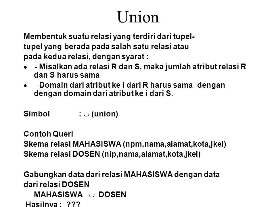 Union Membentuk suatu relasi yang terdiri dari tupel- tupel yang berada pada salah satu relasi atau pada kedua relasi, dengan syarat :  - Misalkan ad