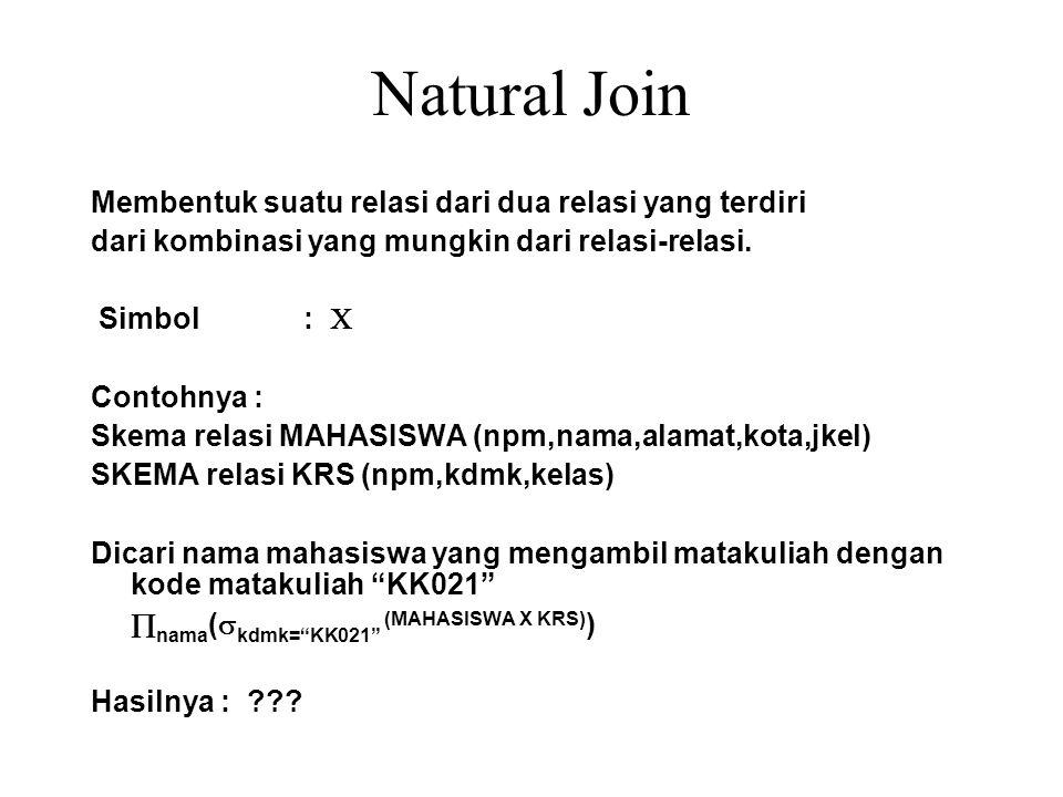 Natural Join Membentuk suatu relasi dari dua relasi yang terdiri dari kombinasi yang mungkin dari relasi-relasi. Simbol :  Contohnya : Skema relasi M
