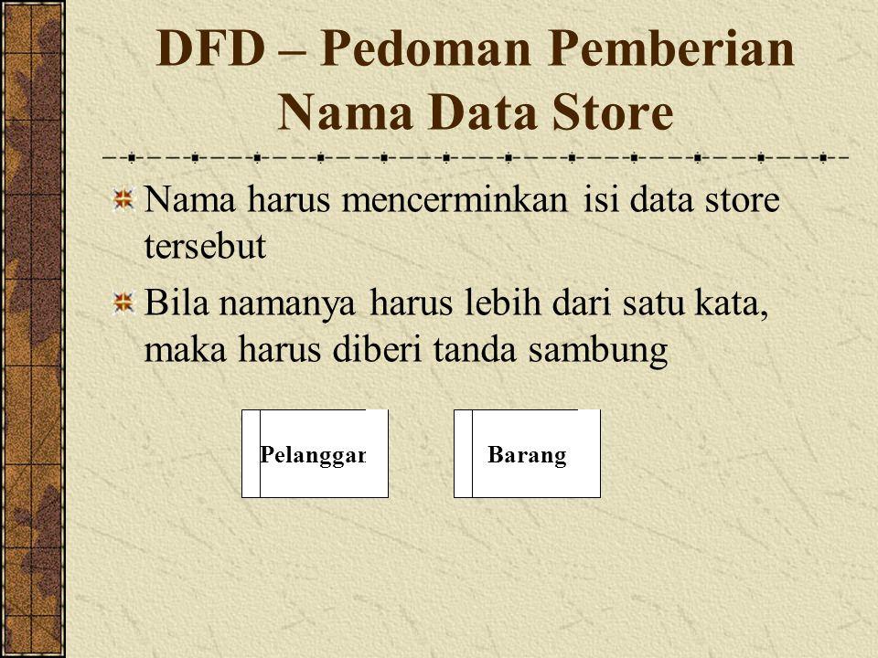 DFD – Pedoman Pemberian Nama Data Store Nama harus mencerminkan isi data store tersebut Bila namanya harus lebih dari satu kata, maka harus diberi tanda sambung PelangganBarang