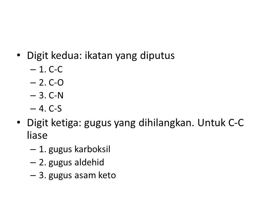 Digit kedua: ikatan yang diputus – 1. C-C – 2. C-O – 3. C-N – 4. C-S Digit ketiga: gugus yang dihilangkan. Untuk C-C liase – 1. gugus karboksil – 2. g