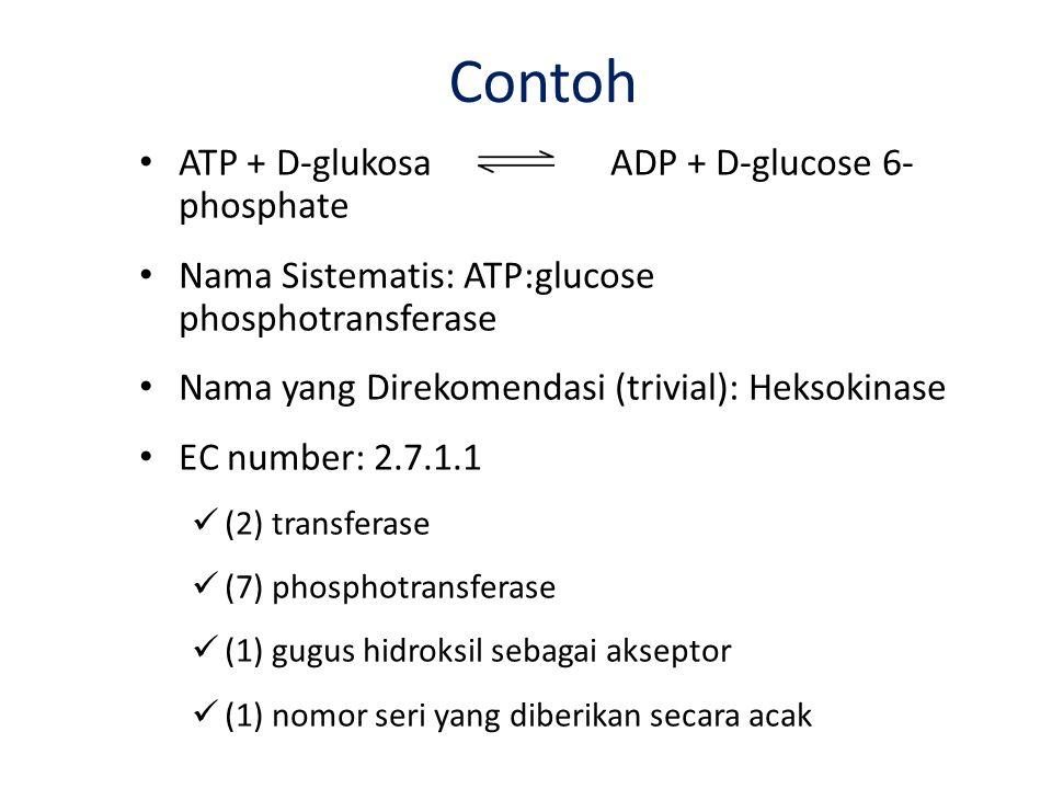 Contoh ATP + D-glukosa ADP + D-glucose 6- phosphate Nama Sistematis: ATP:glucose phosphotransferase Nama yang Direkomendasi (trivial): Heksokinase EC