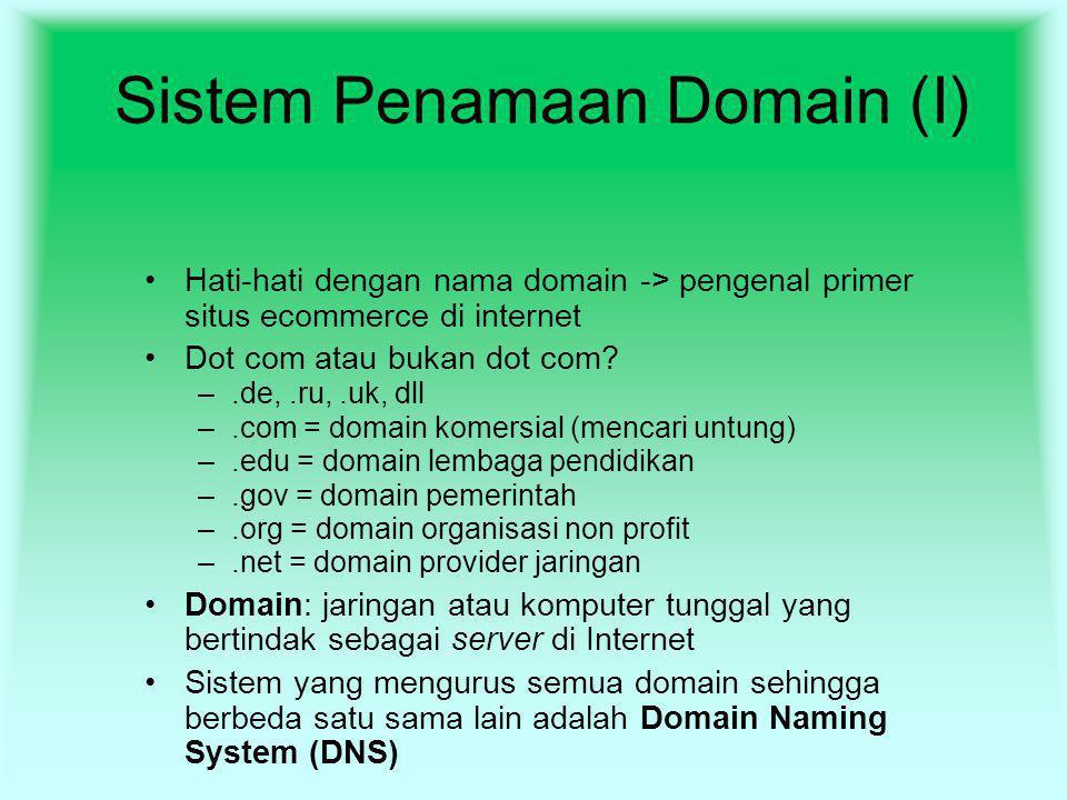 Sistem Penamaan Domain (I) Hati-hati dengan nama domain -> pengenal primer situs ecommerce di internet Dot com atau bukan dot com? –.de,.ru,.uk, dll –