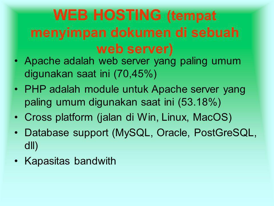 WEB HOSTING (tempat menyimpan dokumen di sebuah web server) Apache adalah web server yang paling umum digunakan saat ini (70,45%) PHP adalah module un