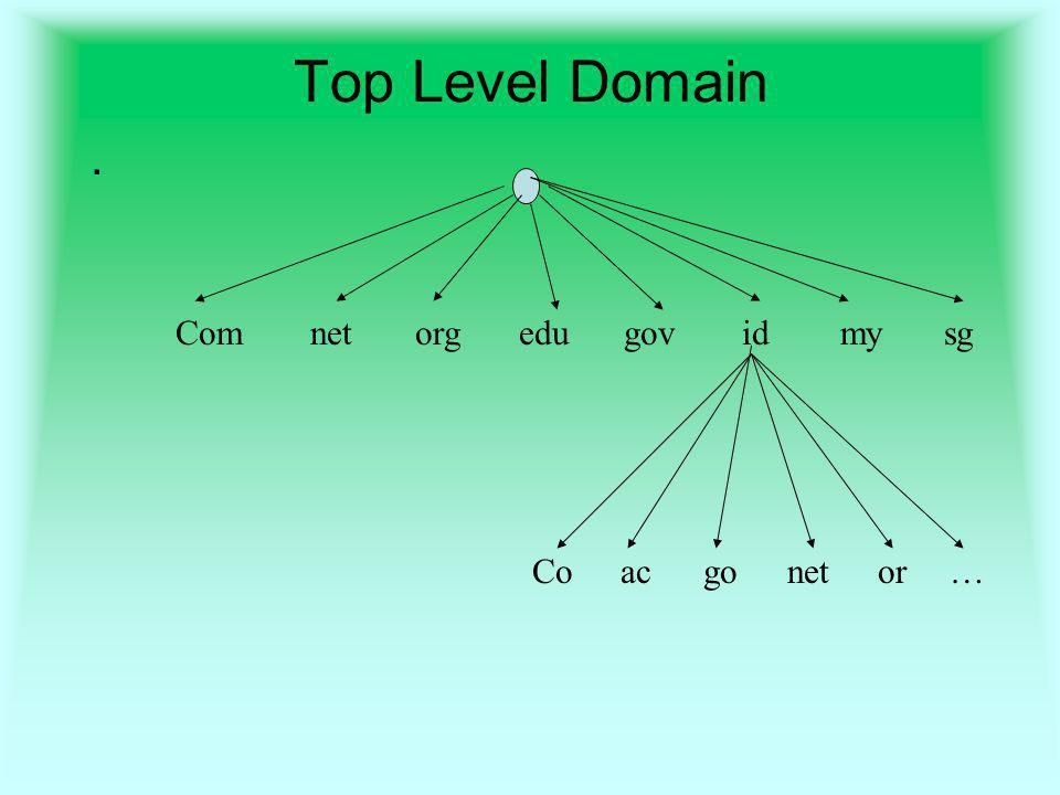 Top Level Domain. Comnetorgedugovidmysg acCogonetor…