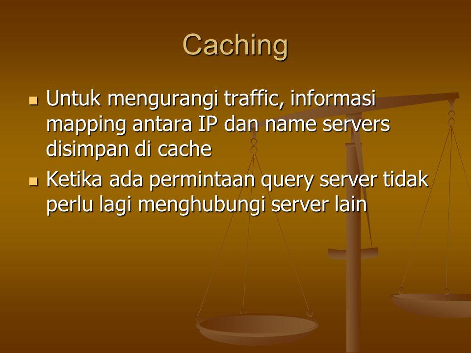 Caching Untuk mengurangi traffic, informasi mapping antara IP dan name servers disimpan di cache Untuk mengurangi traffic, informasi mapping antara IP dan name servers disimpan di cache Ketika ada permintaan query server tidak perlu lagi menghubungi server lain Ketika ada permintaan query server tidak perlu lagi menghubungi server lain