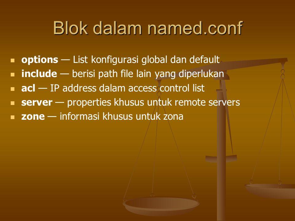 Blok dalam named.conf options — List konfigurasi global dan default include — berisi path file lain yang diperlukan acl — IP address dalam access control list server — properties khusus untuk remote servers zone — informasi khusus untuk zona
