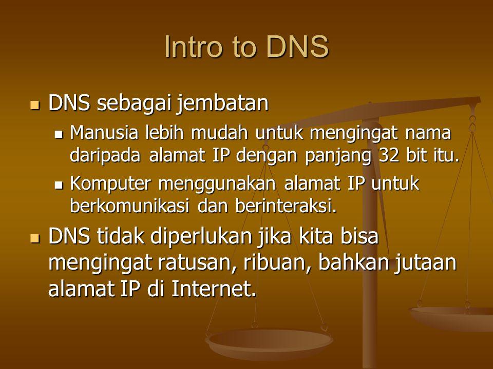 Intro to DNS DNS sebagai jembatan DNS sebagai jembatan Manusia lebih mudah untuk mengingat nama daripada alamat IP dengan panjang 32 bit itu.