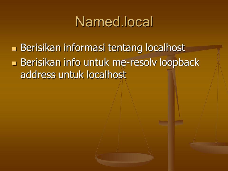 Named.local Berisikan informasi tentang localhost Berisikan informasi tentang localhost Berisikan info untuk me-resolv loopback address untuk localhost Berisikan info untuk me-resolv loopback address untuk localhost