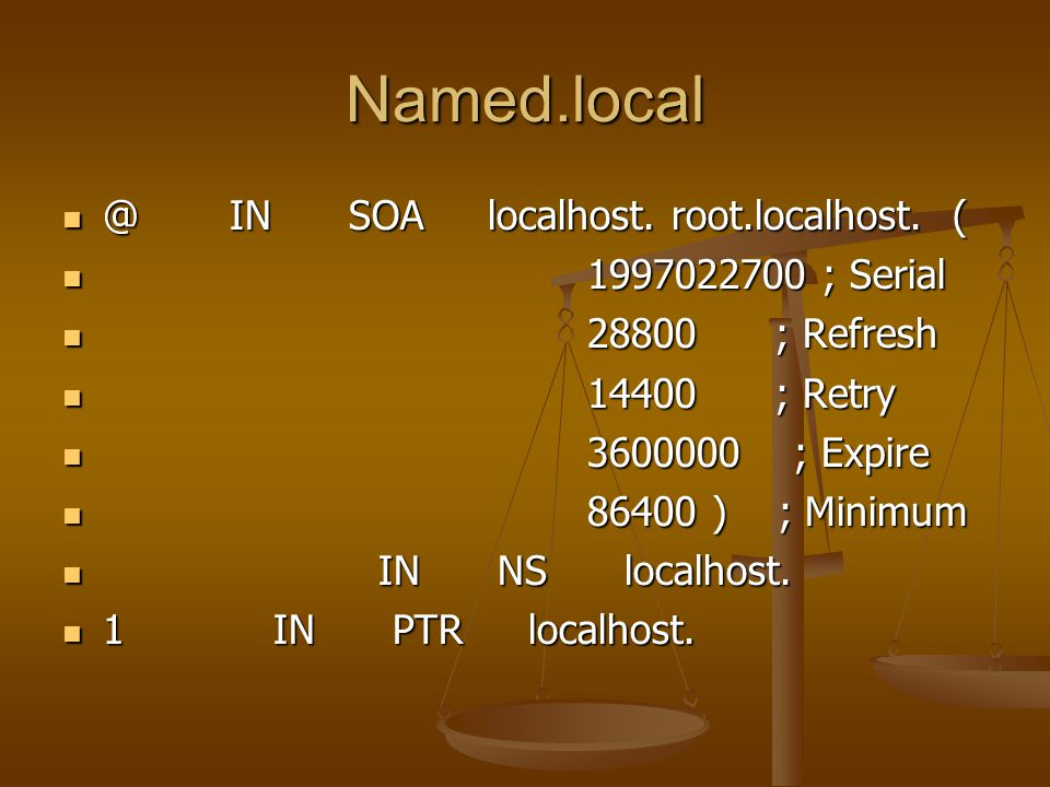 Named.local @ IN SOA localhost. root.localhost. ( @ IN SOA localhost.
