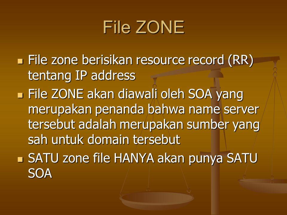 File ZONE File zone berisikan resource record (RR) tentang IP address File zone berisikan resource record (RR) tentang IP address File ZONE akan diawali oleh SOA yang merupakan penanda bahwa name server tersebut adalah merupakan sumber yang sah untuk domain tersebut File ZONE akan diawali oleh SOA yang merupakan penanda bahwa name server tersebut adalah merupakan sumber yang sah untuk domain tersebut SATU zone file HANYA akan punya SATU SOA SATU zone file HANYA akan punya SATU SOA