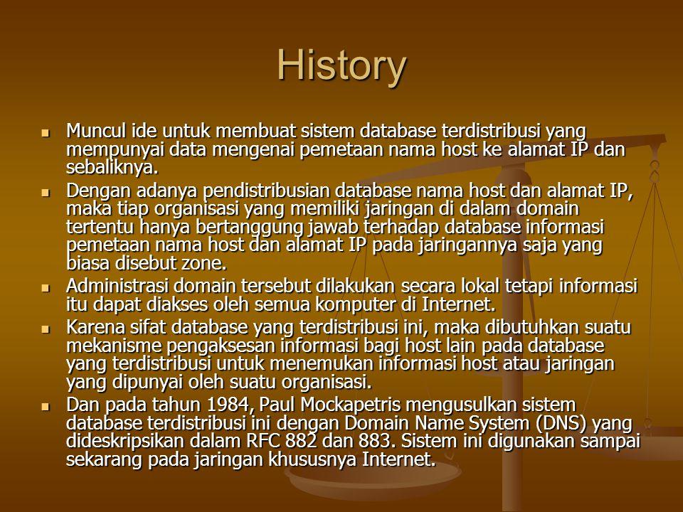 History Muncul ide untuk membuat sistem database terdistribusi yang mempunyai data mengenai pemetaan nama host ke alamat IP dan sebaliknya.