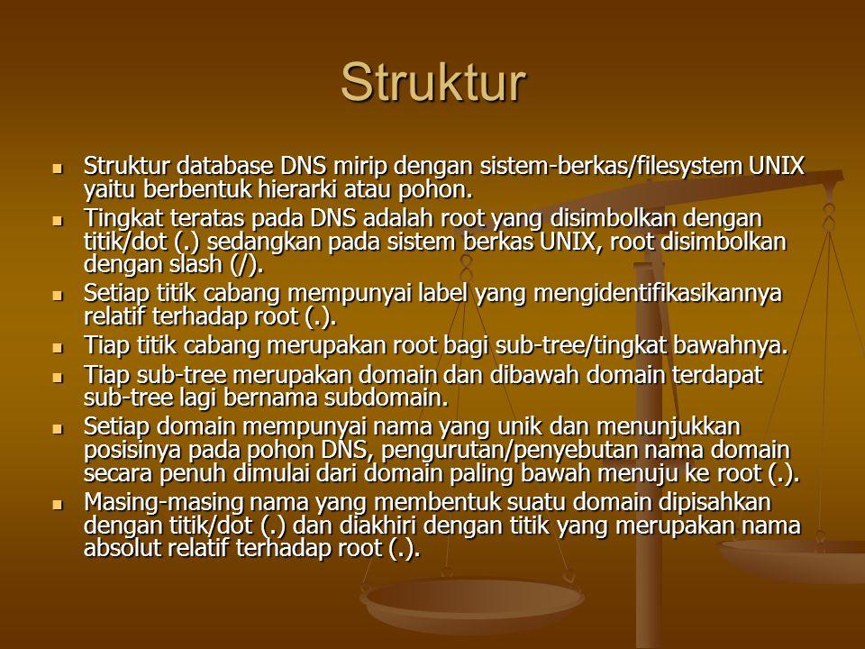 Struktur Struktur database DNS mirip dengan sistem-berkas/filesystem UNIX yaitu berbentuk hierarki atau pohon.