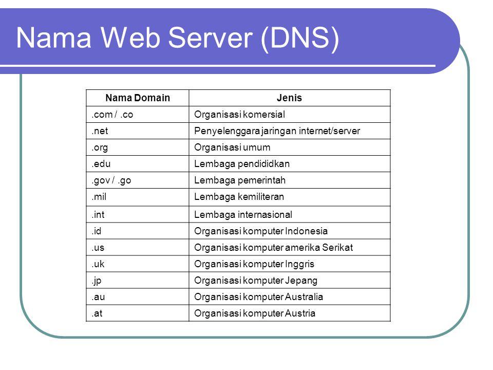 Nama Web Server (DNS) Nama DomainJenis.twOrganisasi komputer Taiwan.seOrganisasi komputer Swedia.ruOrganisasi komputer Rusia.beOrganisasi komputer Belgia.caOrganisasi komputer Kanada.chOrganisasi komputer Swiss.czOrganisasi komputer Checna.ilOrganisasi komputer Israel.myOrganisasi Komputer Malaysia