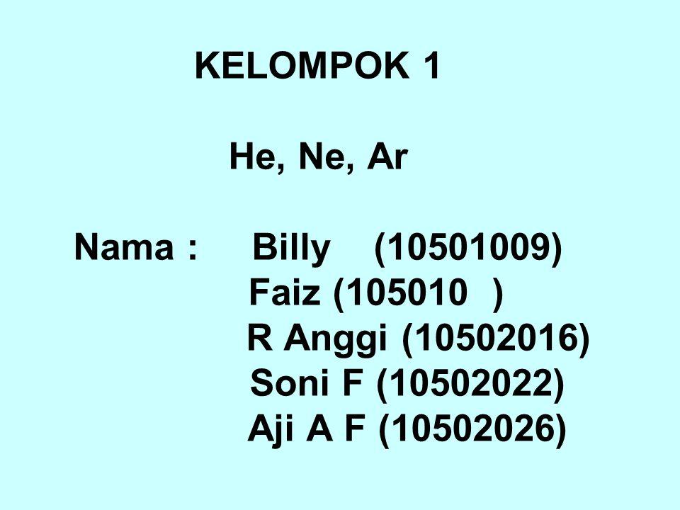 KELOMPOK 1 He, Ne, Ar Nama : Billy (10501009) Faiz (105010 ) R Anggi (10502016) Soni F (10502022) Aji A F (10502026)
