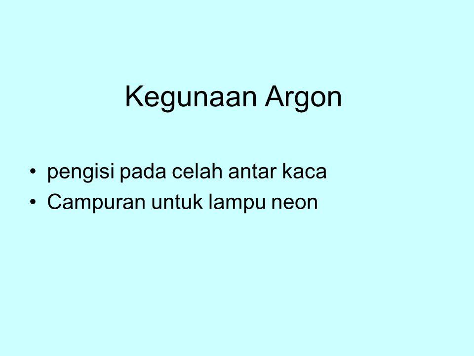 Pembuatan Neon dan Argon dengan cara distilasi bertingkat udara cair peluruhan radioaktif: