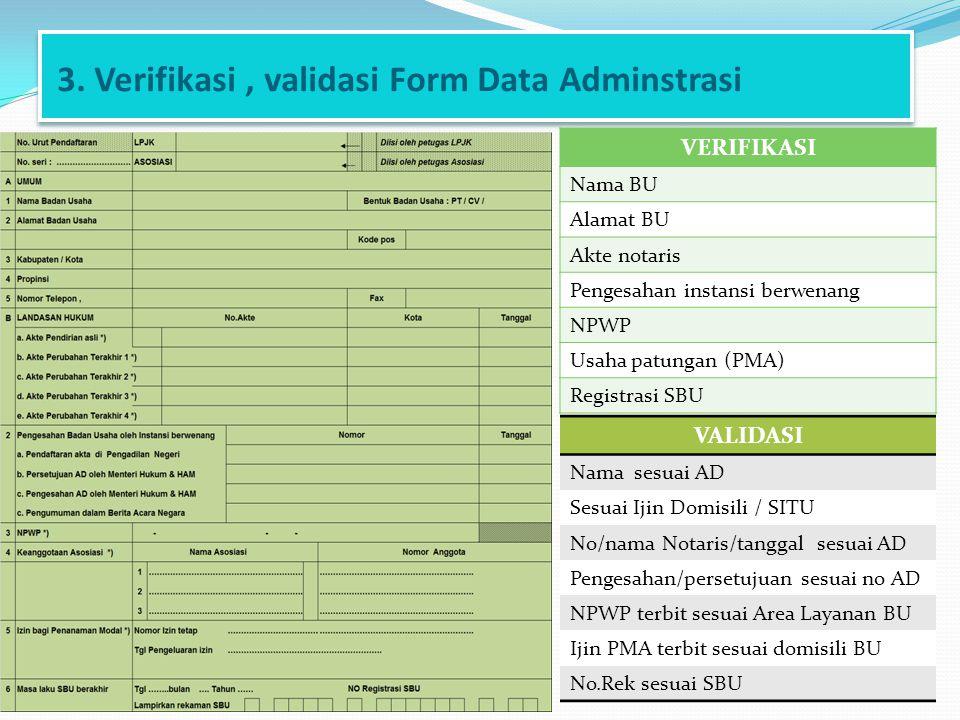 3. Verifikasi, validasi Form Data Adminstrasi VERIFIKASI Nama BU Alamat BU Akte notaris Pengesahan instansi berwenang NPWP Usaha patungan (PMA) Regist