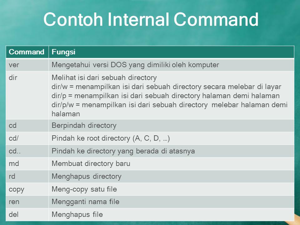 Contoh Internal Command CommandFungsi verMengetahui versi DOS yang dimiliki oleh komputer dirMelihat isi dari sebuah directory dir/w = menampilkan isi