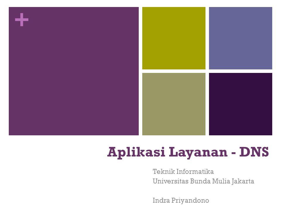 + Aplikasi Layanan - DNS Teknik Informatika Universitas Bunda Mulia Jakarta Indra Priyandono