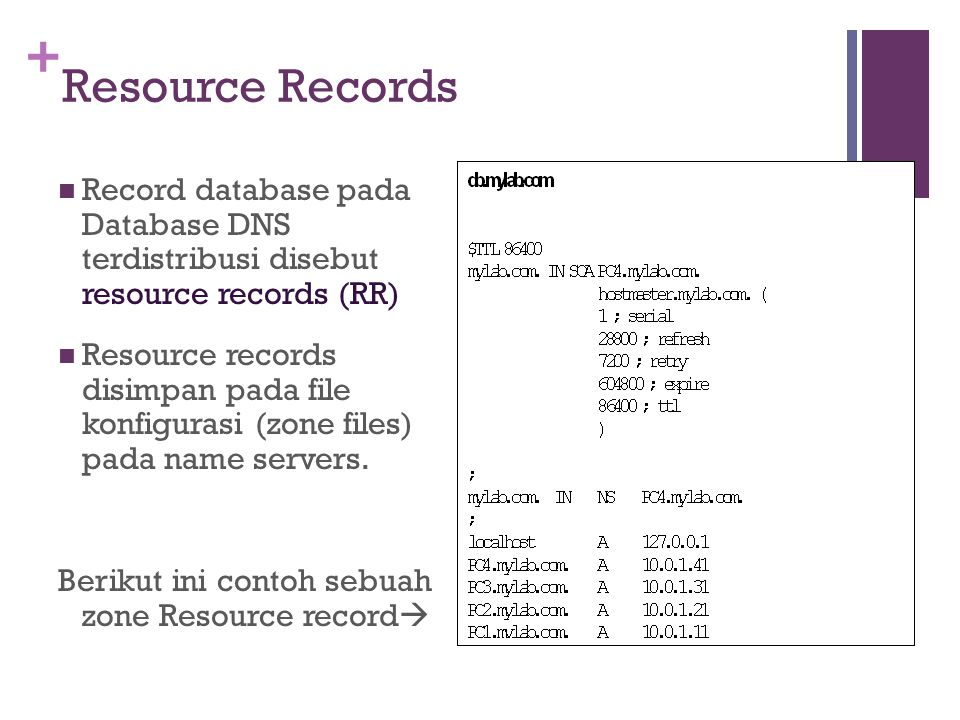 + Resource Records Record database pada Database DNS terdistribusi disebut resource records (RR) Resource records disimpan pada file konfigurasi (zone
