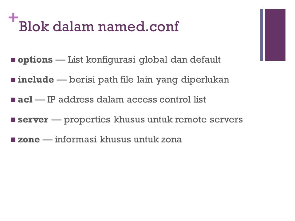+ Blok dalam named.conf options — List konfigurasi global dan default include — berisi path file lain yang diperlukan acl — IP address dalam access co
