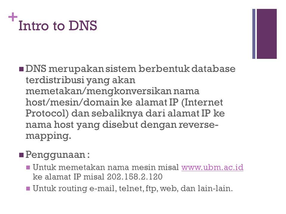 + Intro to DNS DNS merupakan sistem berbentuk database terdistribusi yang akan memetakan/mengkonversikan nama host/mesin/domain ke alamat IP (Internet Protocol) dan sebaliknya dari alamat IP ke nama host yang disebut dengan reverse- mapping.