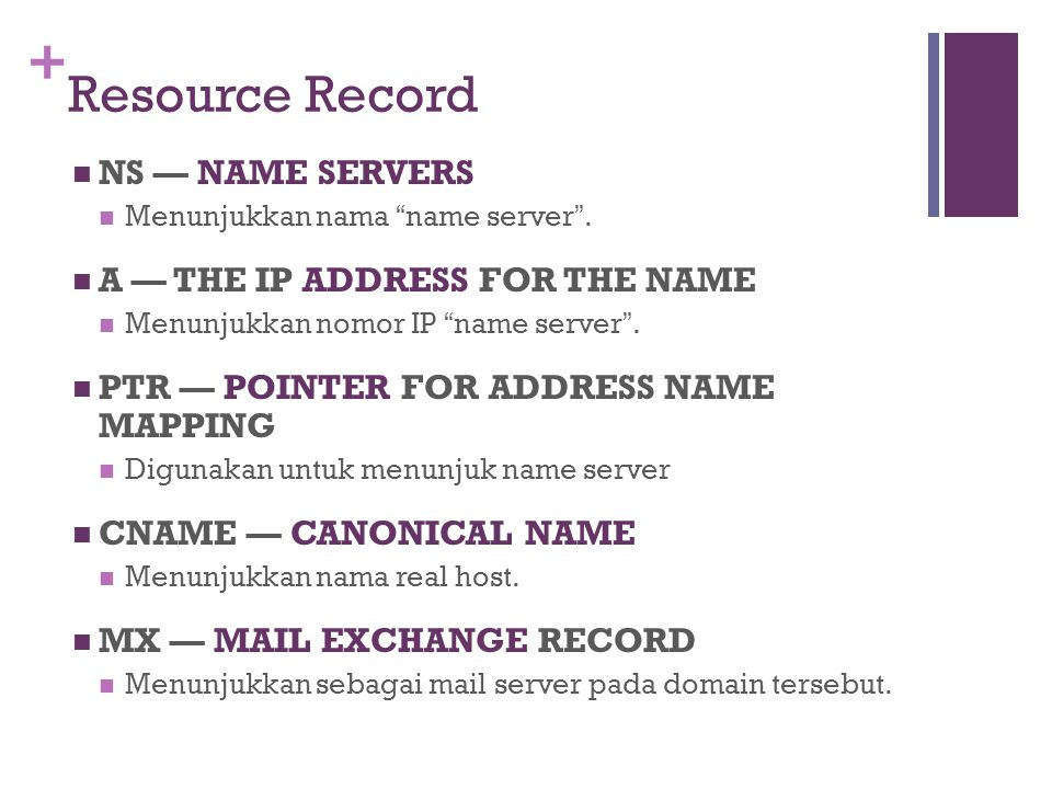 "+ Resource Record NS — NAME SERVERS Menunjukkan nama "" name server "". A — THE IP ADDRESS FOR THE NAME Menunjukkan nomor IP "" name server "". PTR — POIN"