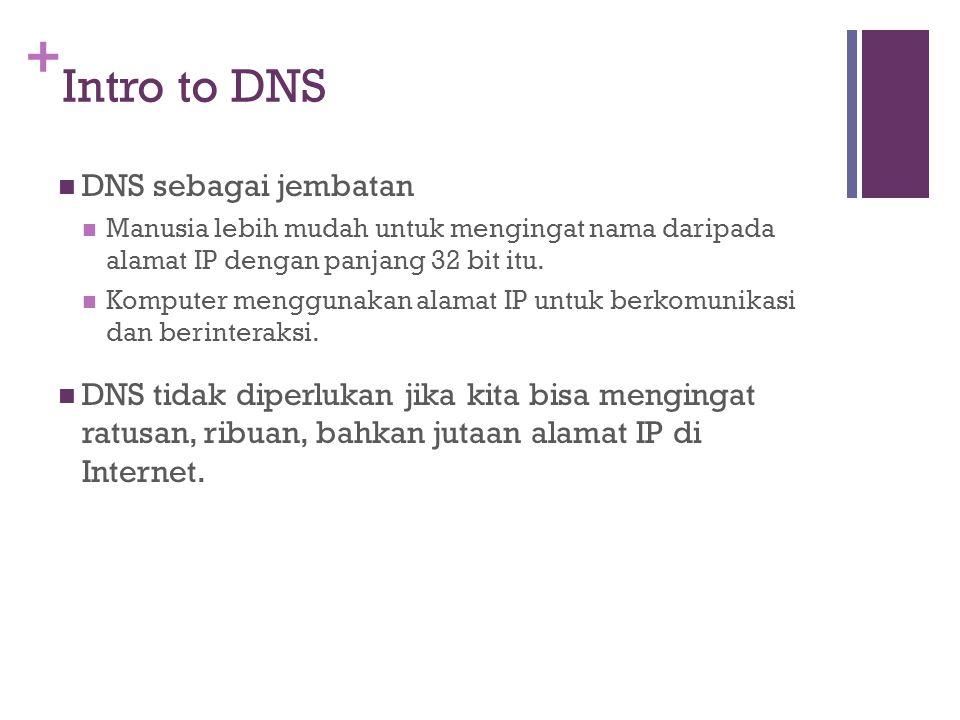 + Intro to DNS DNS sebagai jembatan Manusia lebih mudah untuk mengingat nama daripada alamat IP dengan panjang 32 bit itu. Komputer menggunakan alamat