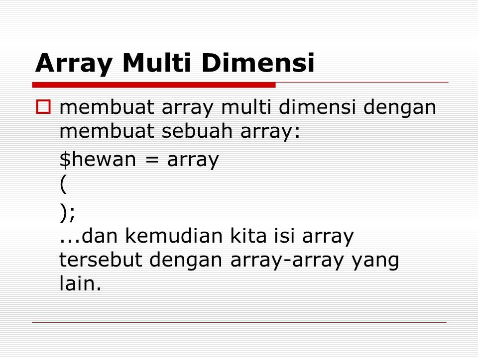 Array Multi Dimensi  membuat array multi dimensi dengan membuat sebuah array: $hewan = array ( );...dan kemudian kita isi array tersebut dengan array-array yang lain.