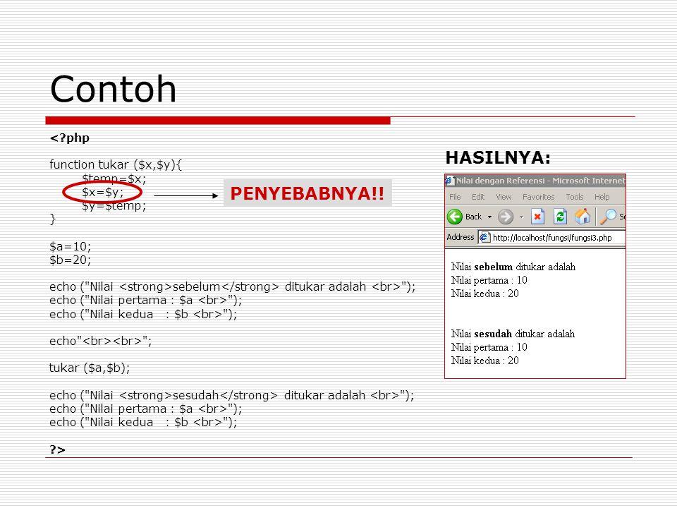 Contoh <?php function tukar ($x,$y){ $temp=$x; $x=$y; $y=$temp; } $a=10; $b=20; echo (