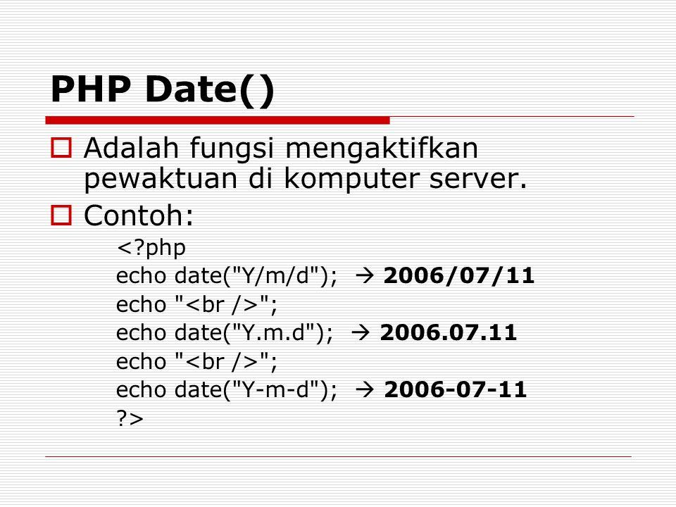 PHP Date()  Adalah fungsi mengaktifkan pewaktuan di komputer server.  Contoh: <?php echo date(