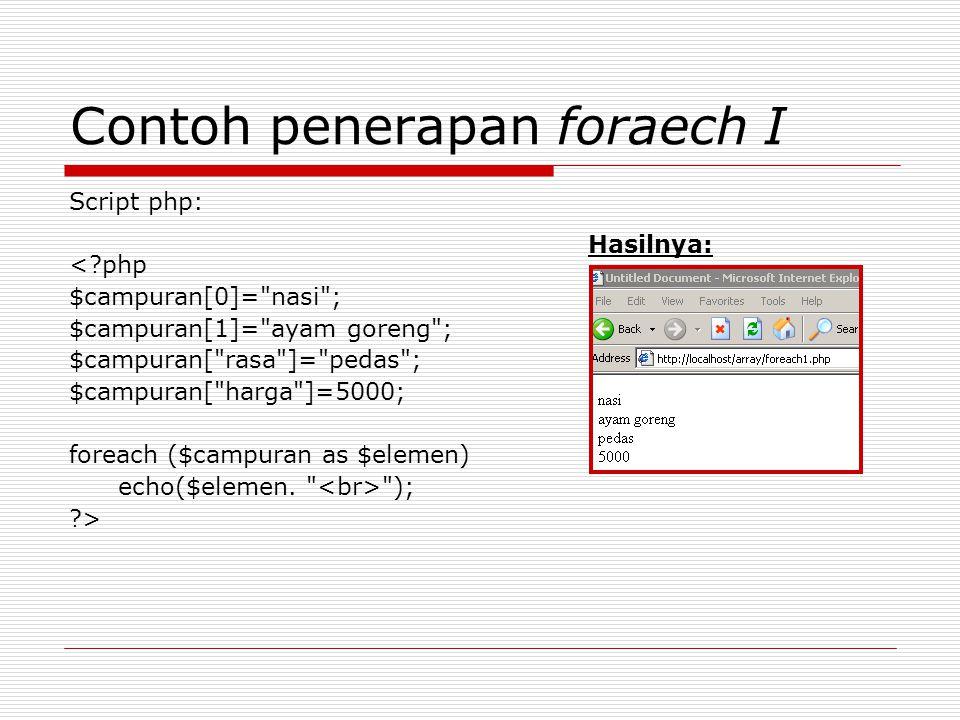 Contoh penerapan foraech I Script php: <?php $campuran[0]=