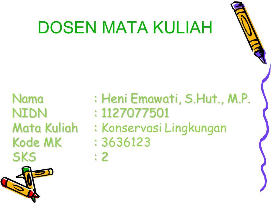 Nama: Heni Emawati, S.Hut., M.P. NIDN: 1127077501 Mata Kuliah: Kode MK: SKS: 2 Nama: Heni Emawati, S.Hut., M.P. NIDN: 1127077501 Mata Kuliah: Konserva