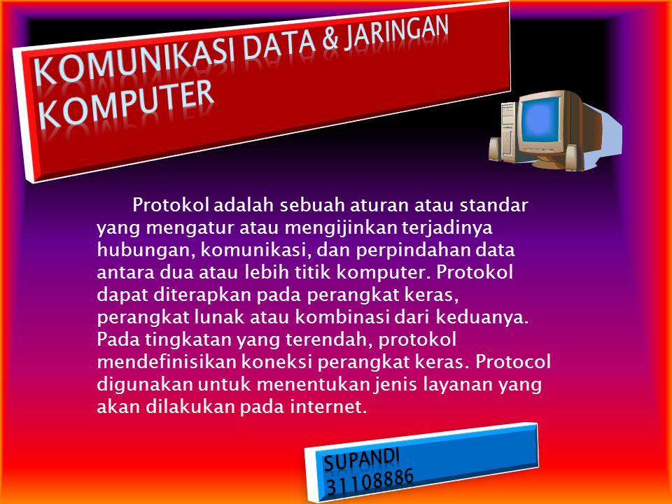 TCP/IP (singkatan dari Transmission Control Protocol/Internet Protocol) Adalah standar komunikasi data yang digunakan oleh komunitas internet dalam proses tukar-menukar data dari satu komputer ke komputer lain di dalam jaringan Internet.