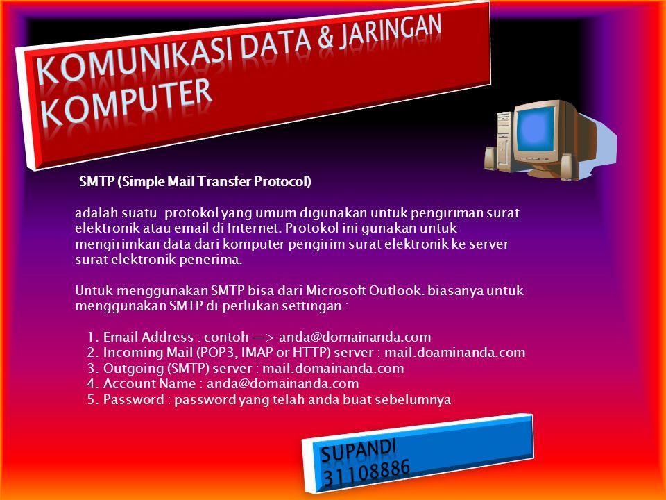 SMTP (Simple Mail Transfer Protocol) adalah suatu protokol yang umum digunakan untuk pengiriman surat elektronik atau email di Internet. Protokol ini
