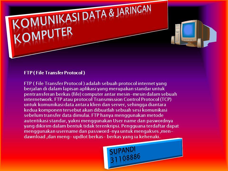 FTP ( File Transfer Protocol ) FTP ( File Transfer Protocol ) adalah sebuah protocol internet yang berjalan di dalam lapisan aplikasi yang merupakan s