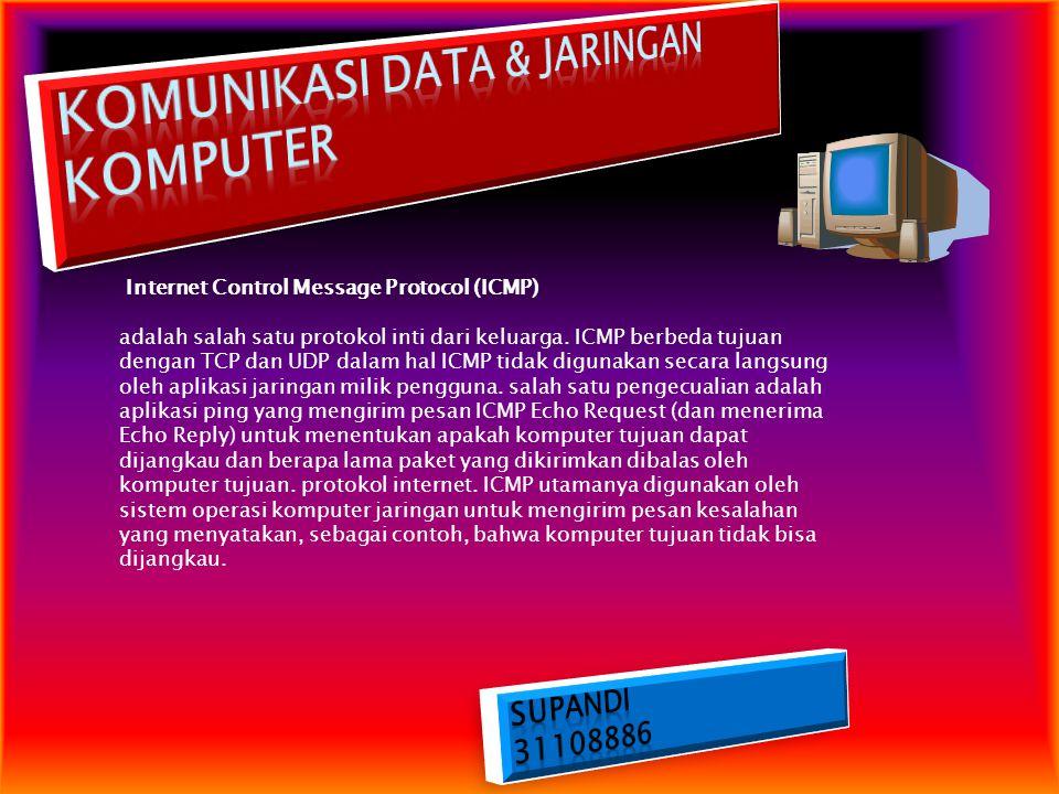Internet Control Message Protocol (ICMP) adalah salah satu protokol inti dari keluarga. ICMP berbeda tujuan dengan TCP dan UDP dalam hal ICMP tidak di