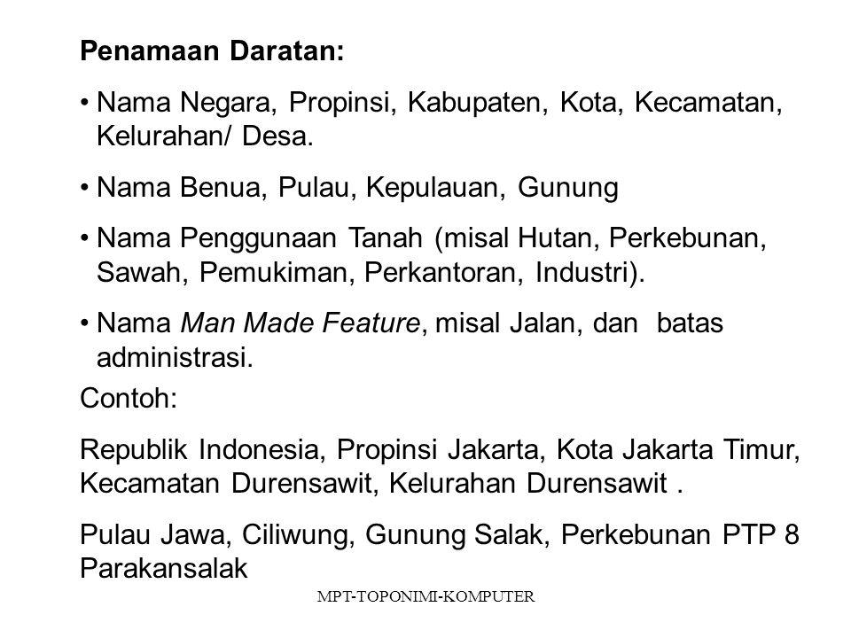 MPT-TOPONIMI-KOMPUTER Penamaan Daratan: Nama Negara, Propinsi, Kabupaten, Kota, Kecamatan, Kelurahan/ Desa.