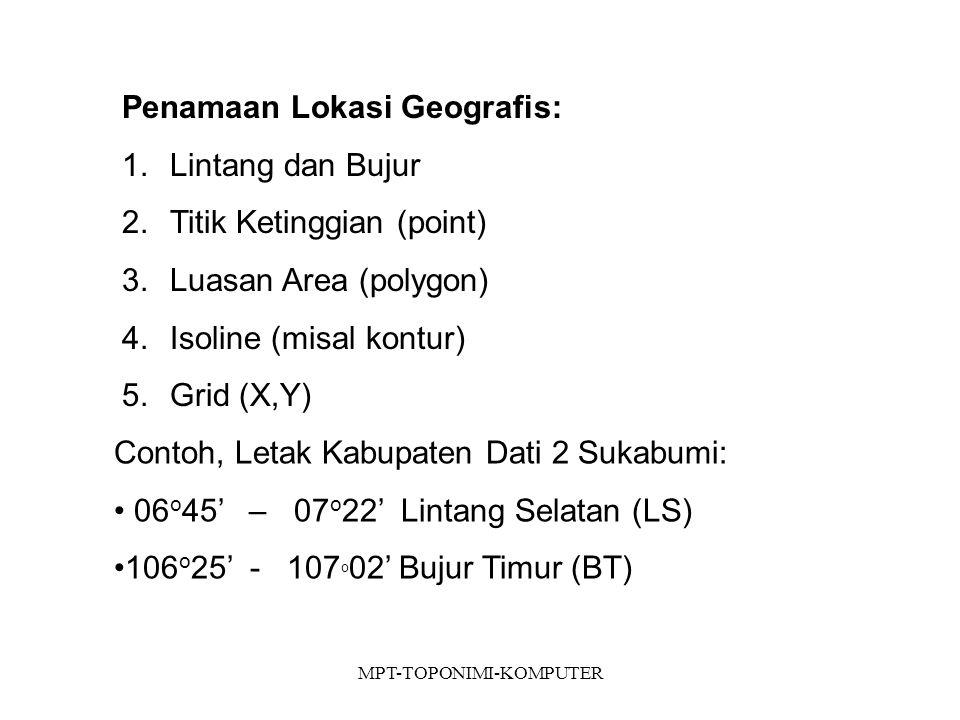 MPT-TOPONIMI-KOMPUTER Penamaan Lokasi Geografis: 1.Lintang dan Bujur 2.Titik Ketinggian (point) 3.Luasan Area (polygon) 4.Isoline (misal kontur) 5.Grid (X,Y) Contoh, Letak Kabupaten Dati 2 Sukabumi: 06 o 45' – 07 o 22' Lintang Selatan (LS) 106 o 25' - 107 o 02' Bujur Timur (BT)