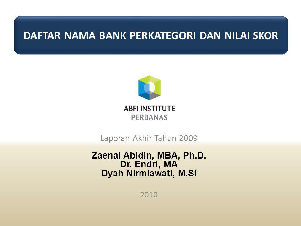 Laporan Akhir Tahun 2009 Zaenal Abidin, MBA, Ph.D.