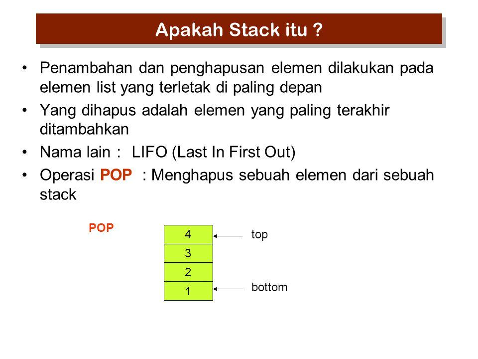 Penambahan dan penghapusan elemen dilakukan pada elemen list yang terletak di paling depan Yang dihapus adalah elemen yang paling terakhir ditambahkan