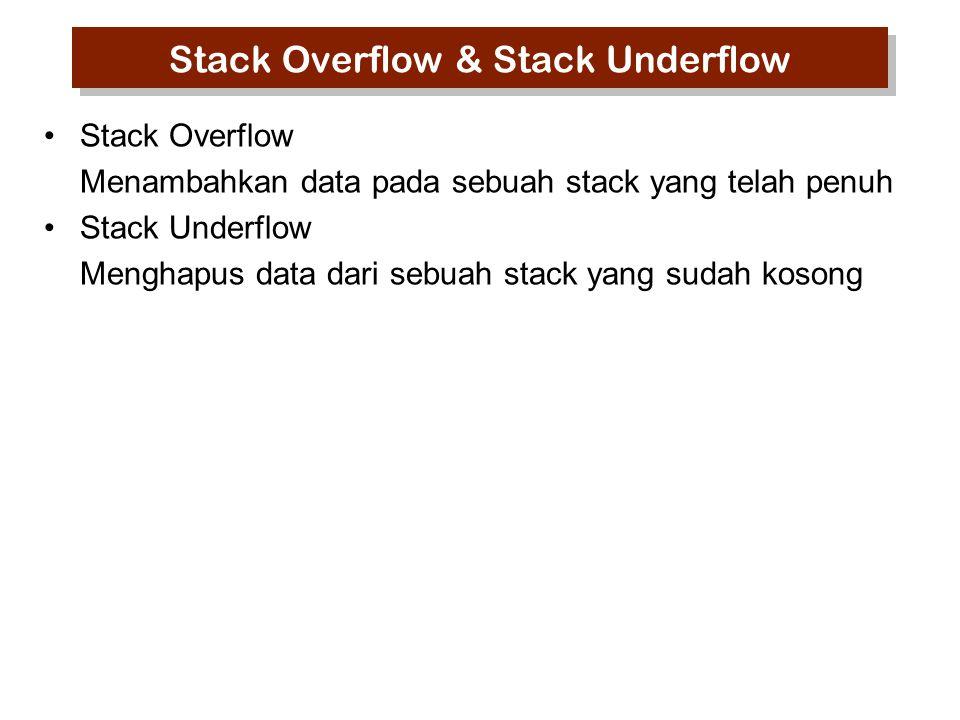Stack Overflow Menambahkan data pada sebuah stack yang telah penuh Stack Underflow Menghapus data dari sebuah stack yang sudah kosong Stack Overflow &