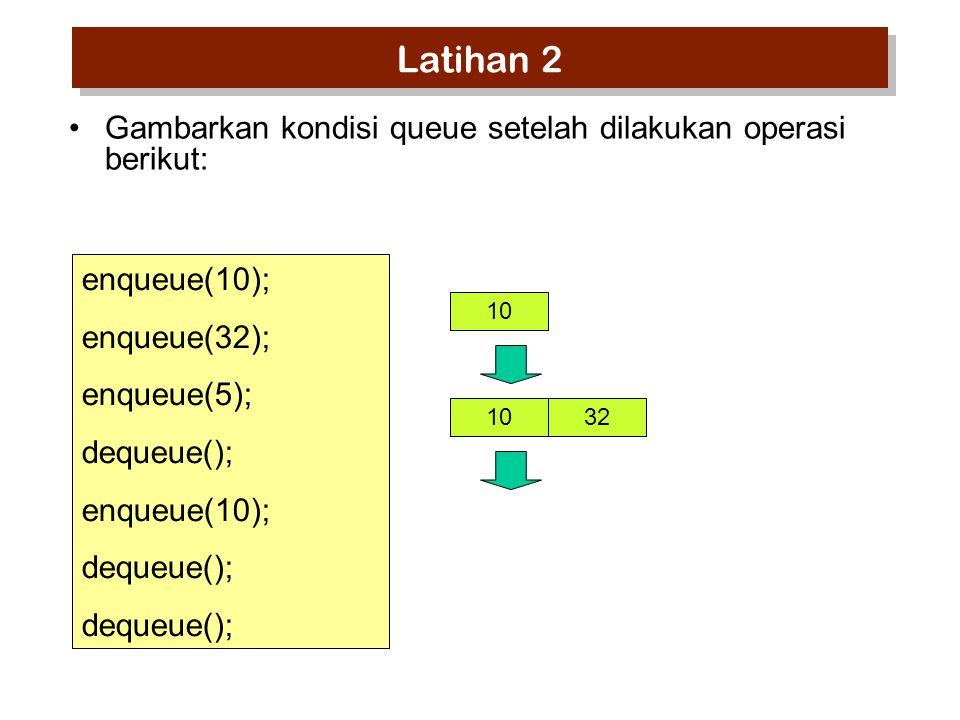 enqueue(10); enqueue(32); enqueue(5); dequeue(); enqueue(10); dequeue(); 10 32 Gambarkan kondisi queue setelah dilakukan operasi berikut: Latihan 2