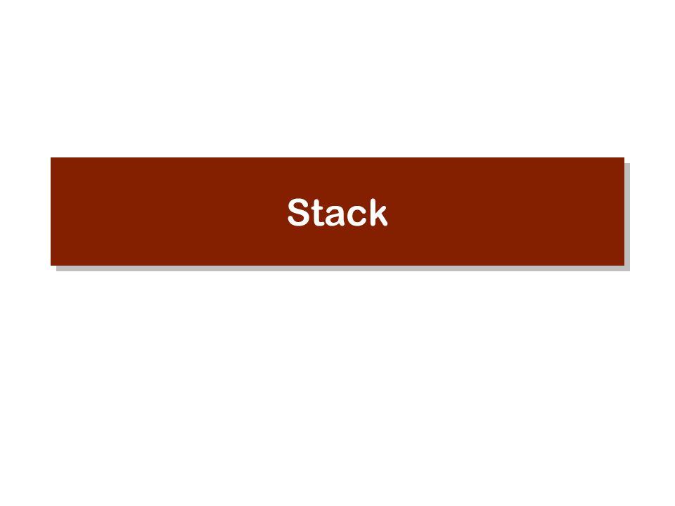 Penambahan dan penghapusan elemen dilakukan pada elemen list yang terletak di paling depan Yang dihapus adalah elemen yang paling terakhir ditambahkan Nama lain : LIFO (Last In First Out) Operasi POP : Menghapus sebuah elemen dari sebuah stack POP 1 2 3 bottom top Apakah Stack itu ?