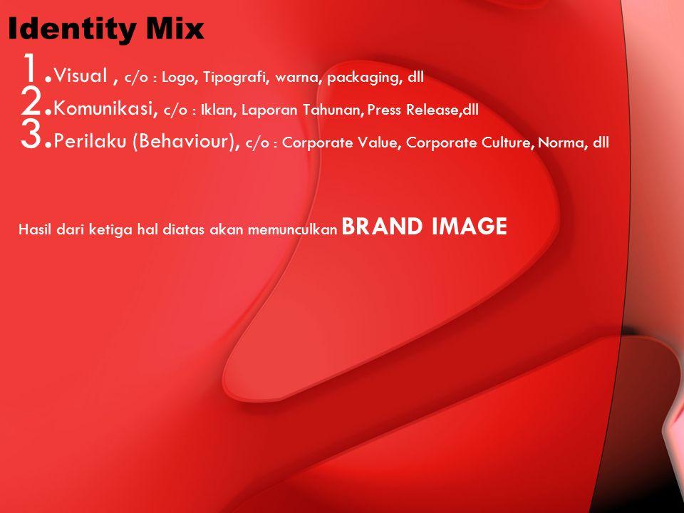 Identity Mix 1. Visual, c/o : Logo, Tipografi, warna, packaging, dll 2. Komunikasi, c/o : Iklan, Laporan Tahunan, Press Release,dll 3. Perilaku (Behav