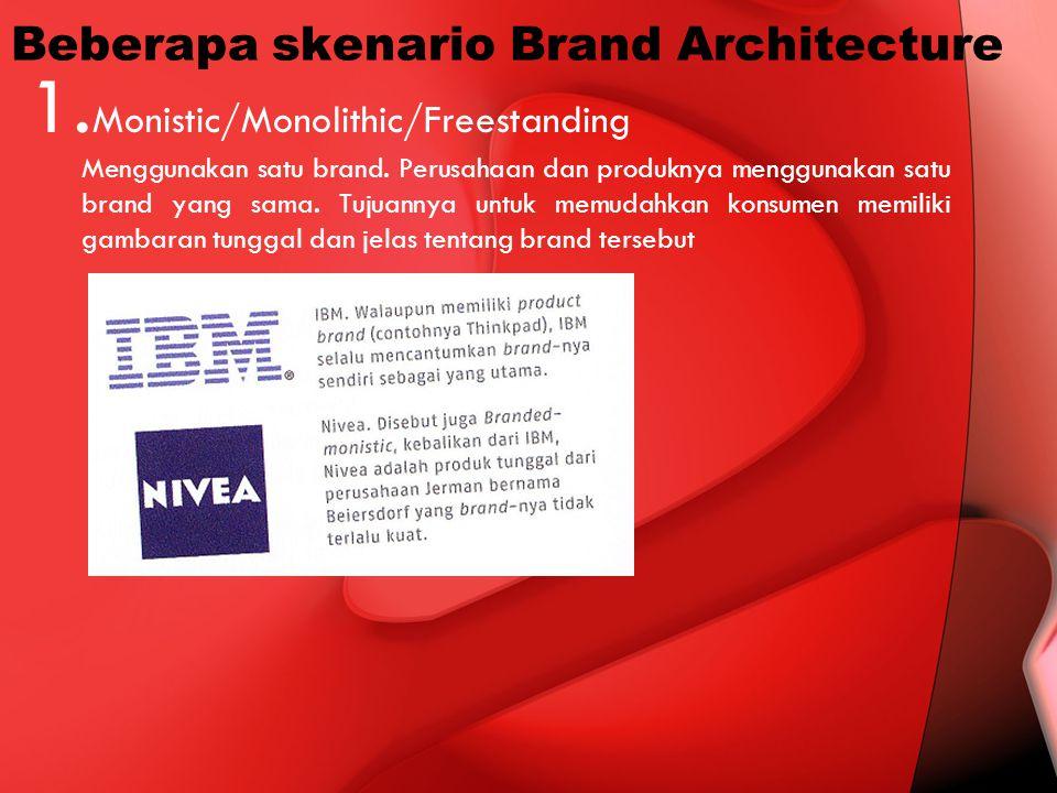 Beberapa skenario Brand Architecture 1. Monistic/Monolithic/Freestanding Menggunakan satu brand. Perusahaan dan produknya menggunakan satu brand yang