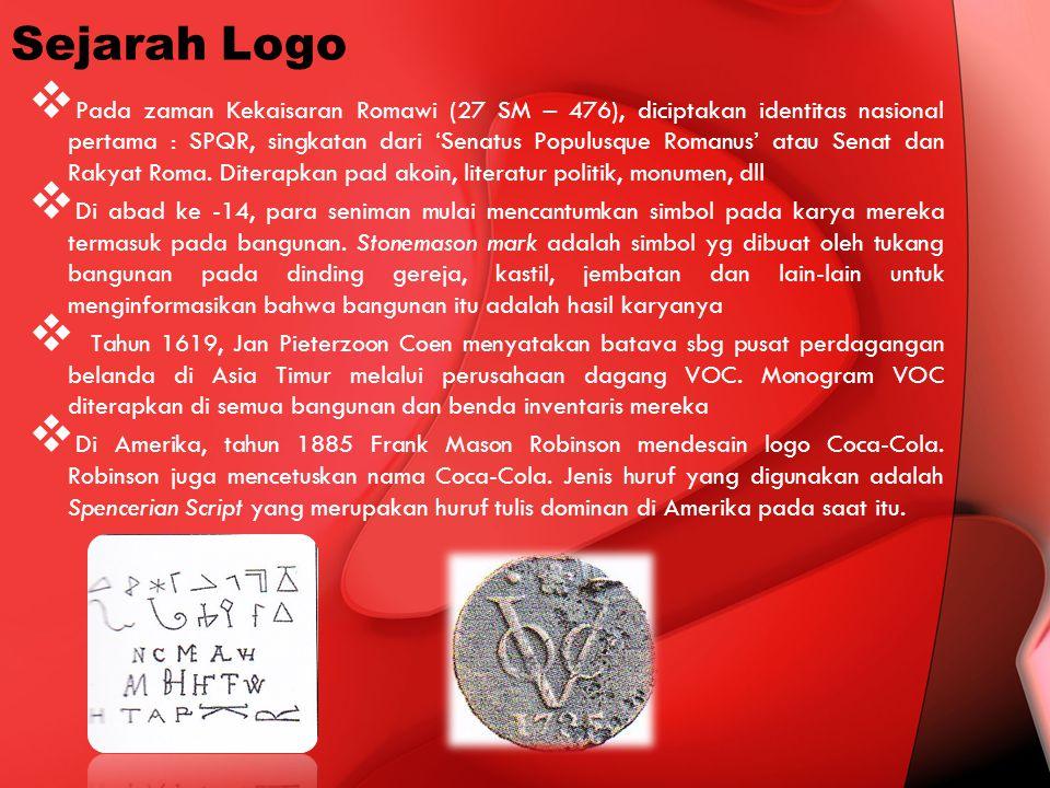 Sejarah Logo  Pada zaman Kekaisaran Romawi (27 SM – 476), diciptakan identitas nasional pertama : SPQR, singkatan dari 'Senatus Populusque Romanus' a