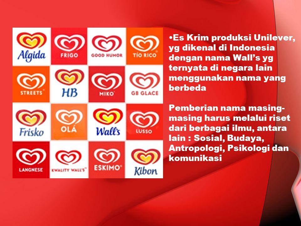 Es Krim produksi Unilever, yg dikenal di Indonesia dengan nama Wall's yg ternyata di negara lain menggunakan nama yang berbeda Pemberian nama masing-