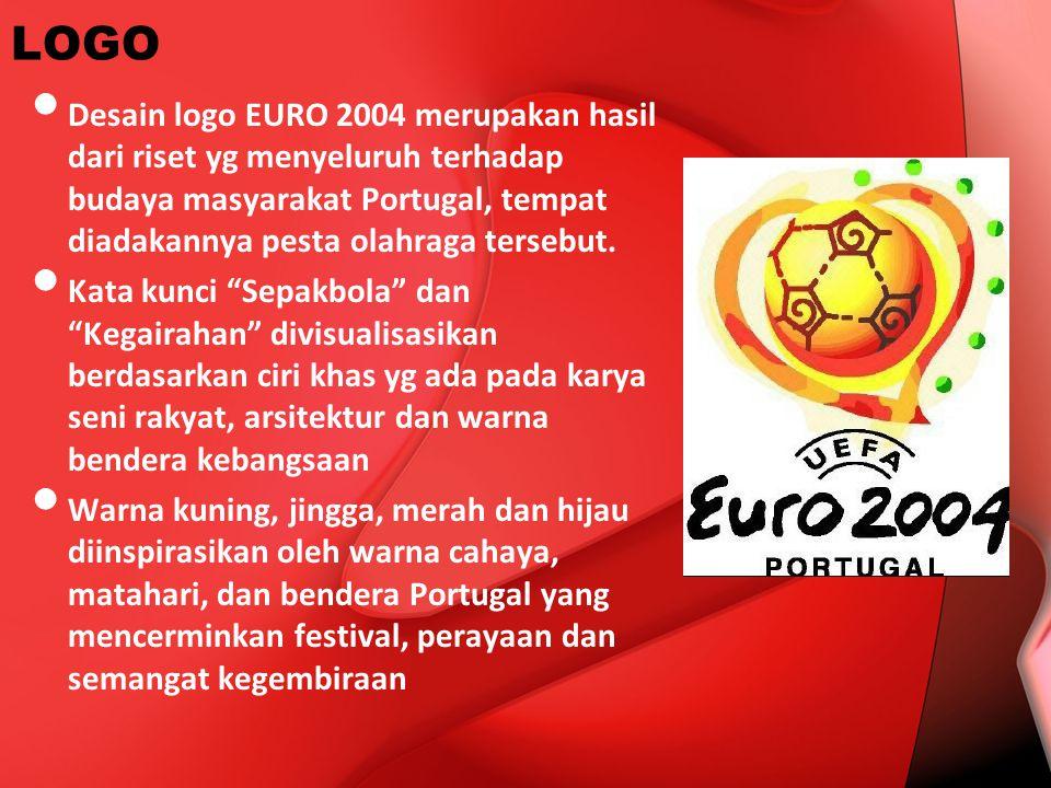 LOGO Desain logo EURO 2004 merupakan hasil dari riset yg menyeluruh terhadap budaya masyarakat Portugal, tempat diadakannya pesta olahraga tersebut. K